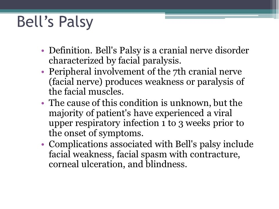 Bell's Palsy Definition. Bell s Palsy is a cranial nerve disorder characterized by facial paralysis.