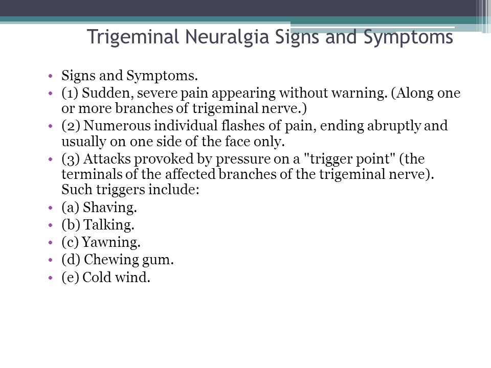 Trigeminal Neuralgia Signs and Symptoms