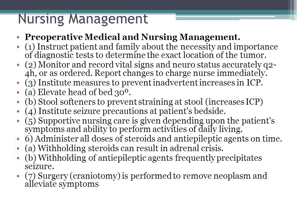 Nursing Management Preoperative Medical and Nursing Management.