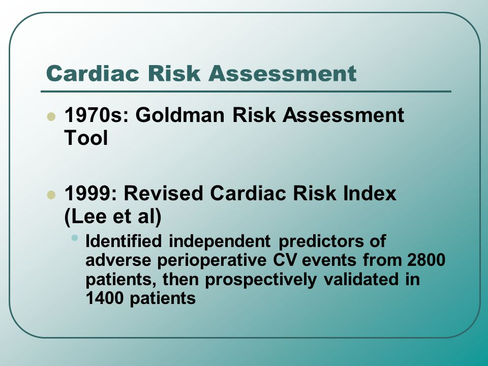 Cardiac Risk Assessment