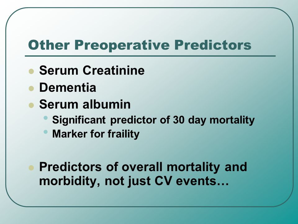 Other Preoperative Predictors