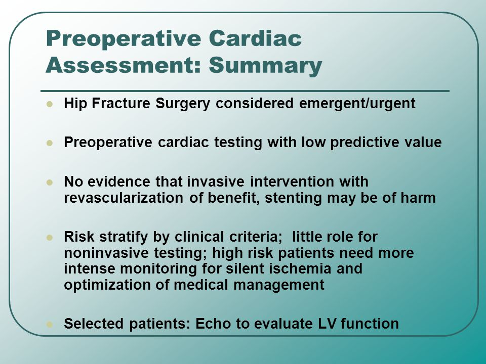 Preoperative Cardiac Assessment: Summary