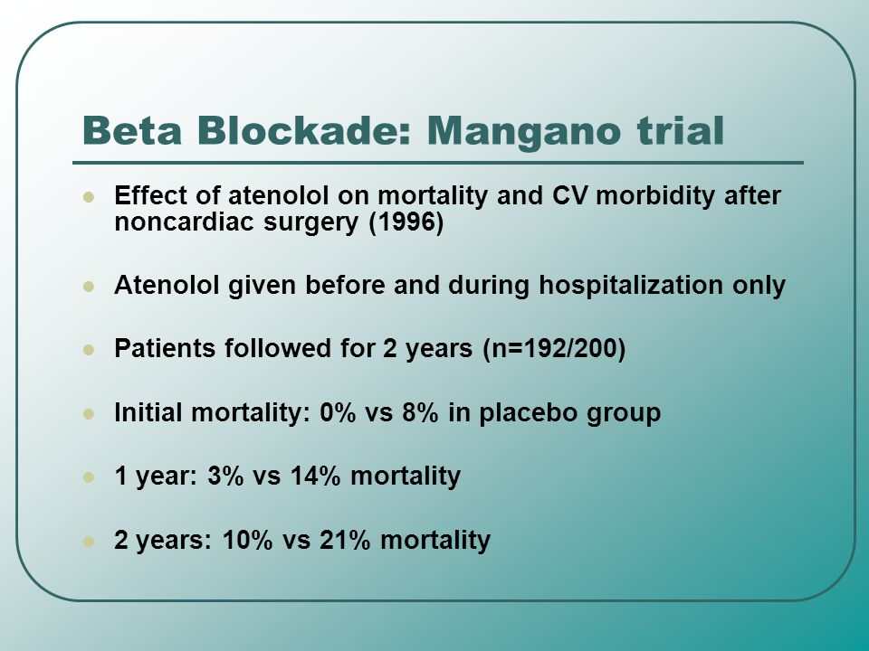 Beta Blockade: Mangano trial