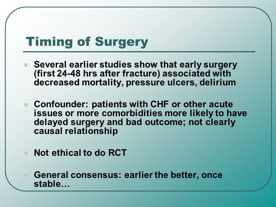 Timing of Surgery