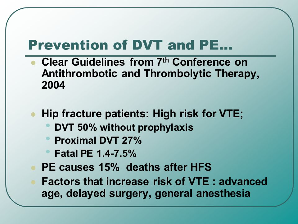 Prevention of DVT and PE…