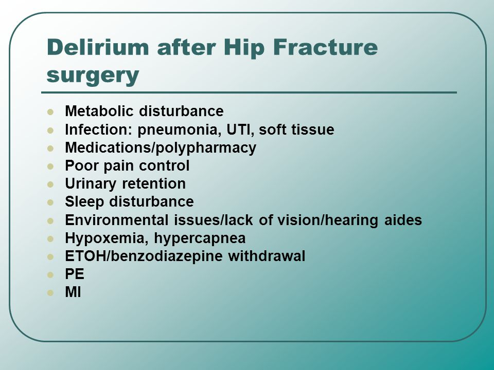 Delirium after Hip Fracture surgery