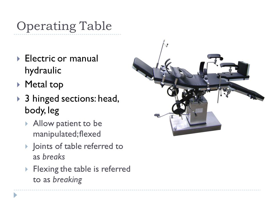 Operating Table Electric or manual hydraulic Metal top