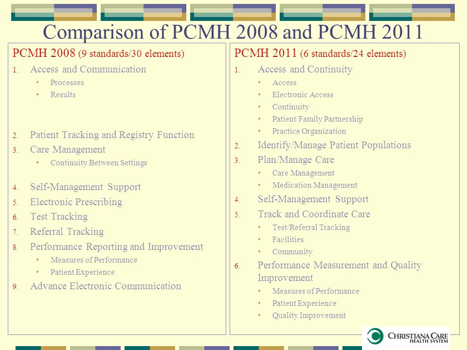 Comparison of PCMH 2008 and PCMH 2011