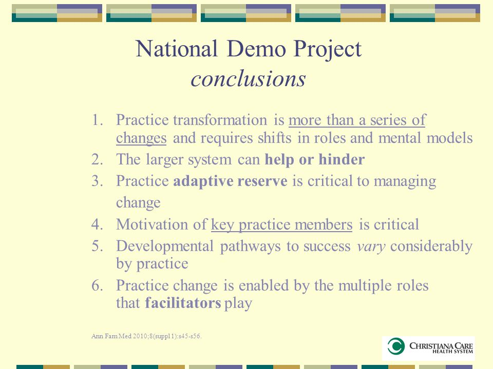 National Demo Project conclusions