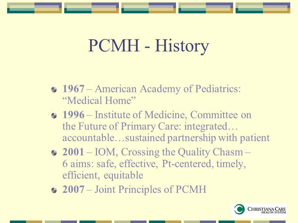 PCMH - History 1967 – American Academy of Pediatrics: Medical Home