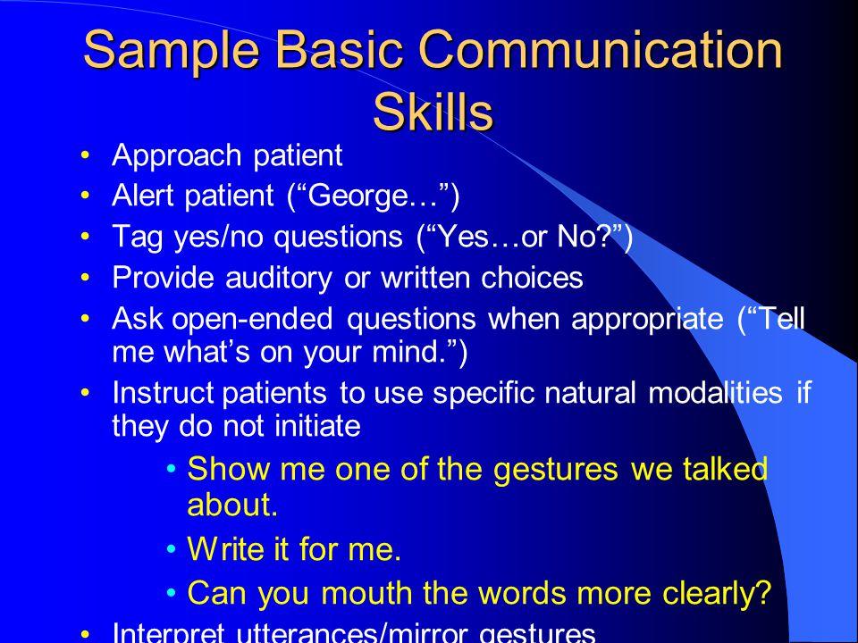 Sample Basic Communication Skills
