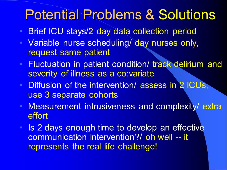 Potential Problems & Solutions