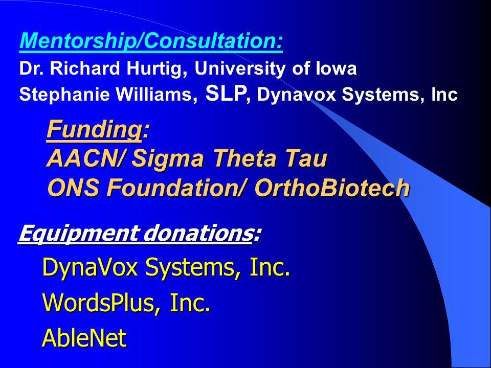 Funding: AACN/ Sigma Theta Tau ONS Foundation/ OrthoBiotech