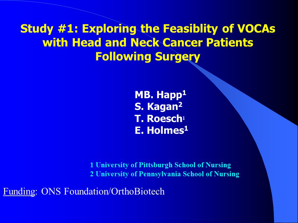 Study #1: Exploring the Feasiblity of VOCAs with Head and Neck Cancer Patients Following Surgery