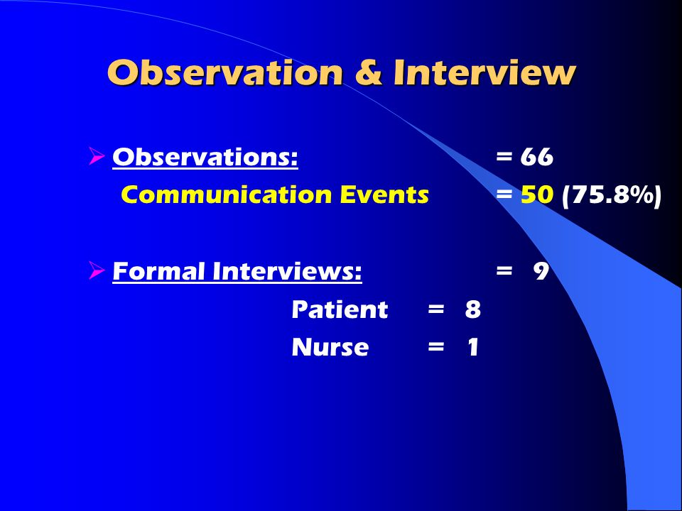 Observation & Interview