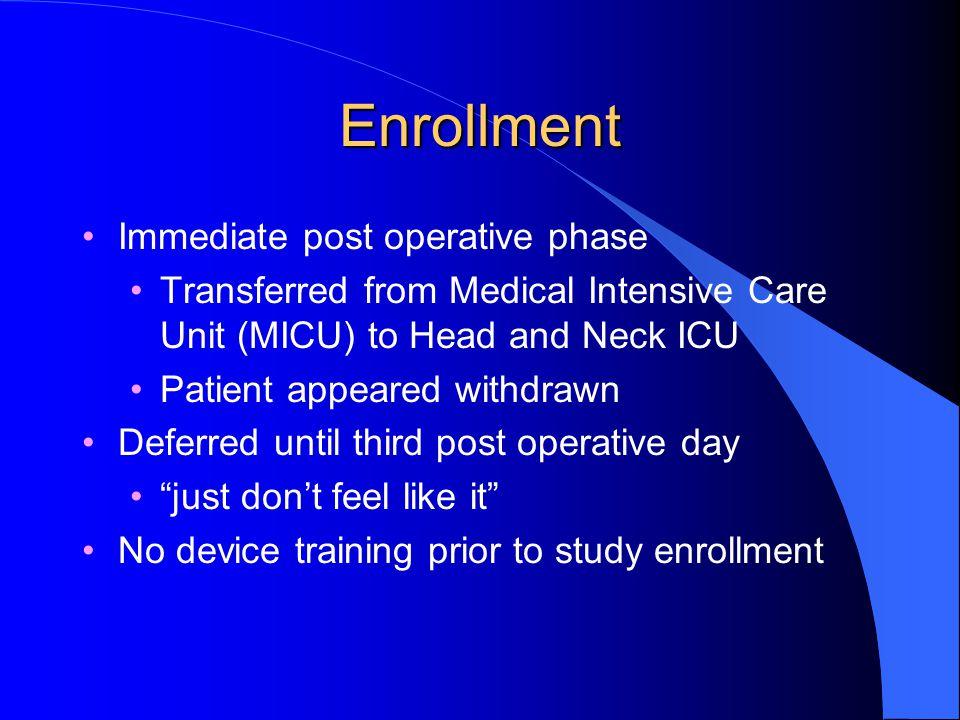 Enrollment Immediate post operative phase