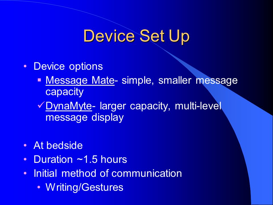 Device Set Up Device options