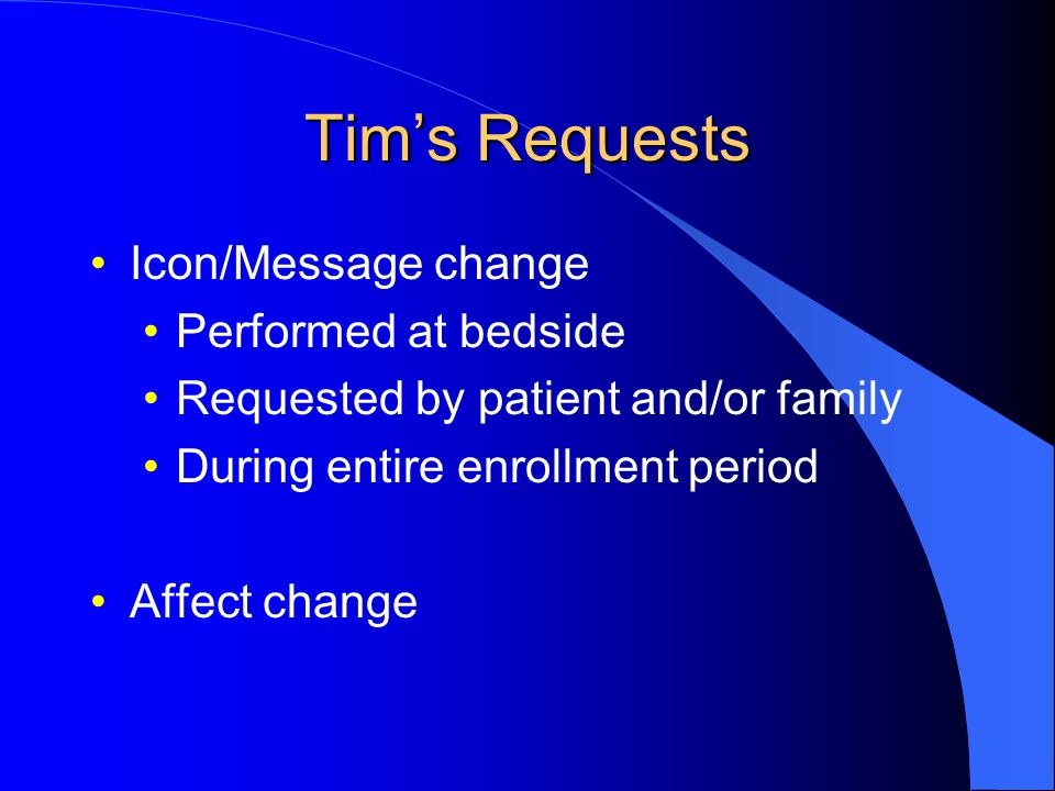 Tim's Requests Icon/Message change Performed at bedside