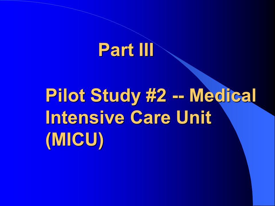 Part III Pilot Study #2 -- Medical Intensive Care Unit (MICU)