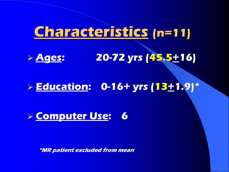 Characteristics (n=11) Ages: 20-72 yrs (45.5+16)