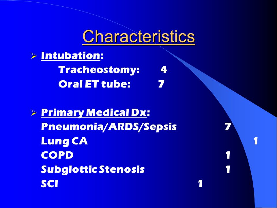 Characteristics Intubation: Tracheostomy: 4 Oral ET tube: 7