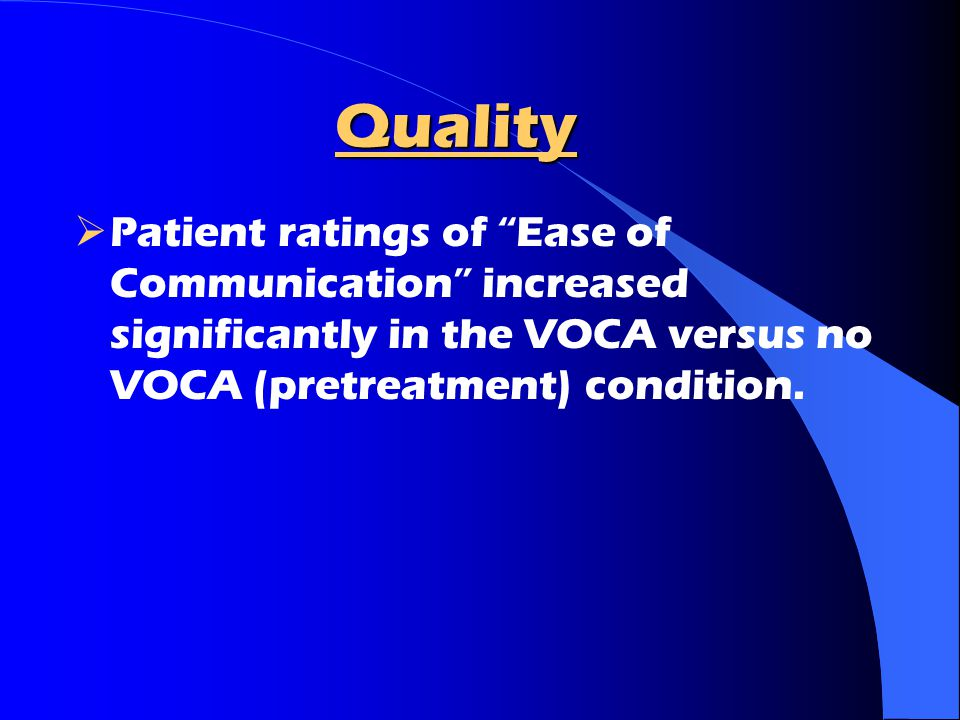 Quality Patient ratings of Ease of Communication increased significantly in the VOCA versus no VOCA (pretreatment) condition.