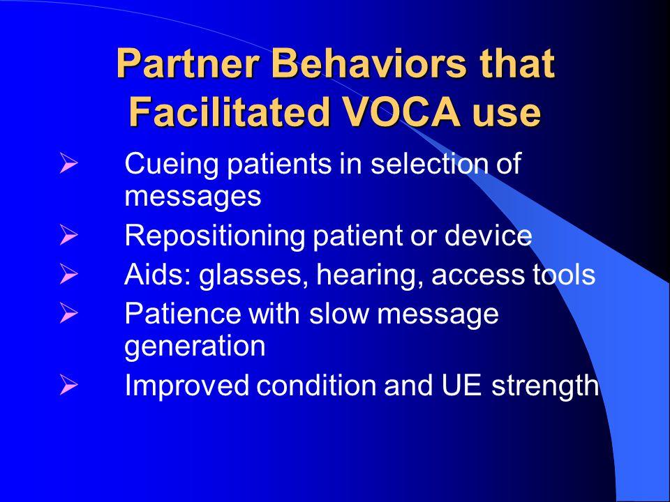 Partner Behaviors that Facilitated VOCA use
