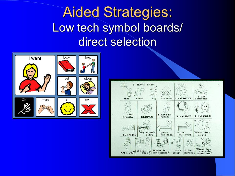 Aided Strategies: Low tech symbol boards/ direct selection