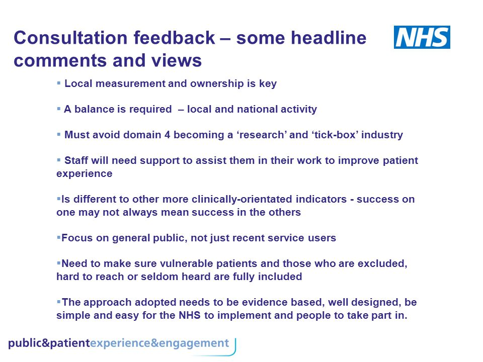 Consultation feedback – some headline comments and views