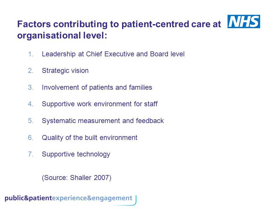Factors contributing to patient-centred care at organisational level: