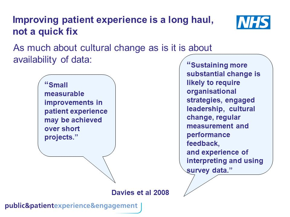 Improving patient experience is a long haul, not a quick fix