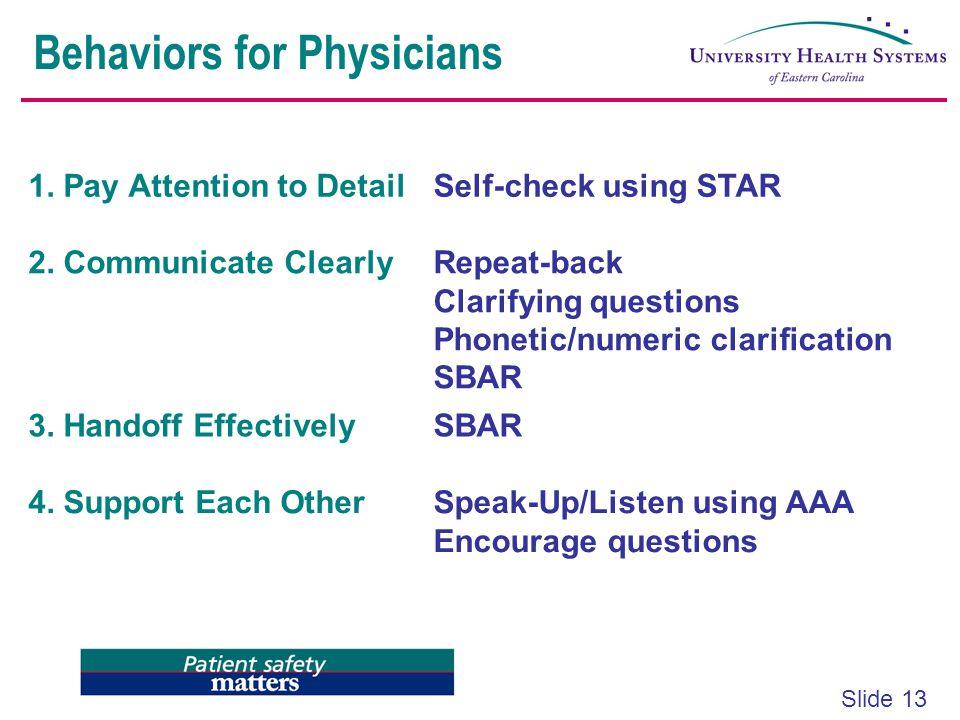 Behaviors for Physicians