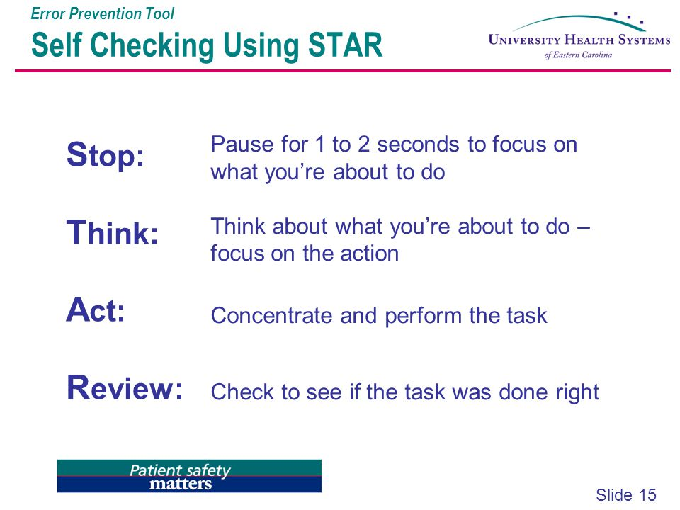Error Prevention Tool Self Checking Using STAR