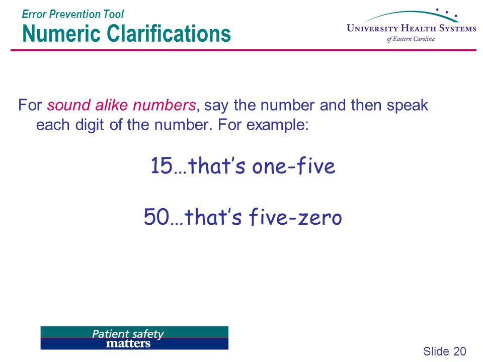 Error Prevention Tool Numeric Clarifications