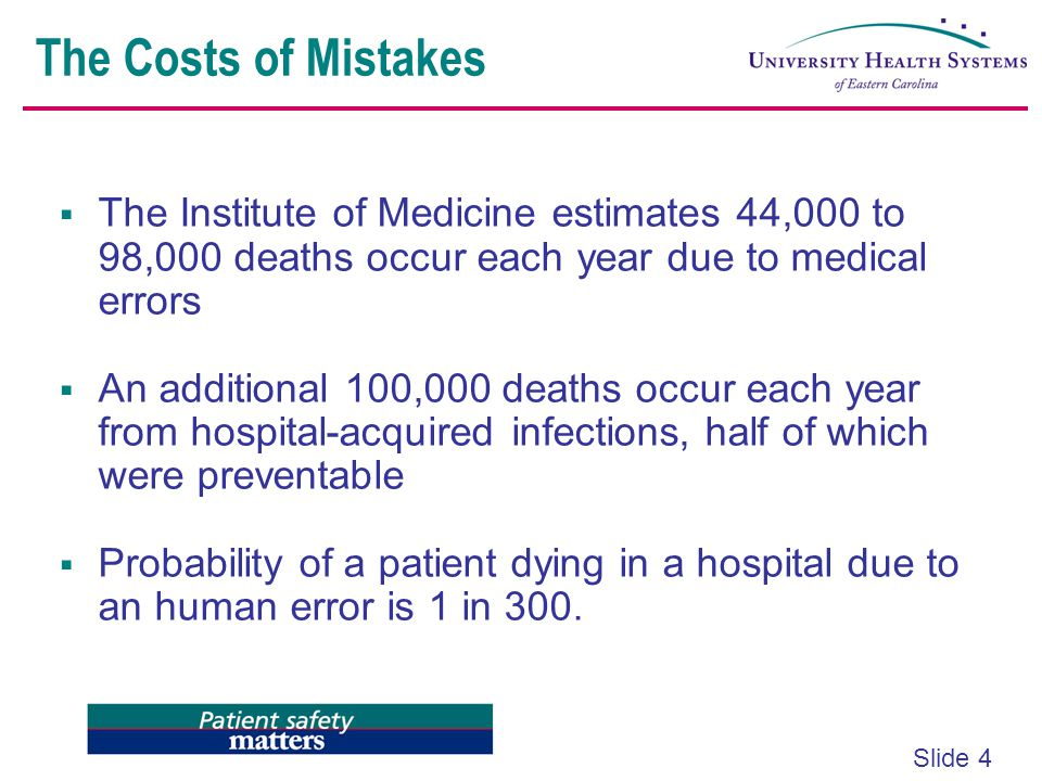 The Costs of Mistakes The Institute of Medicine estimates 44,000 to 98,000 deaths occur each year due to medical errors.