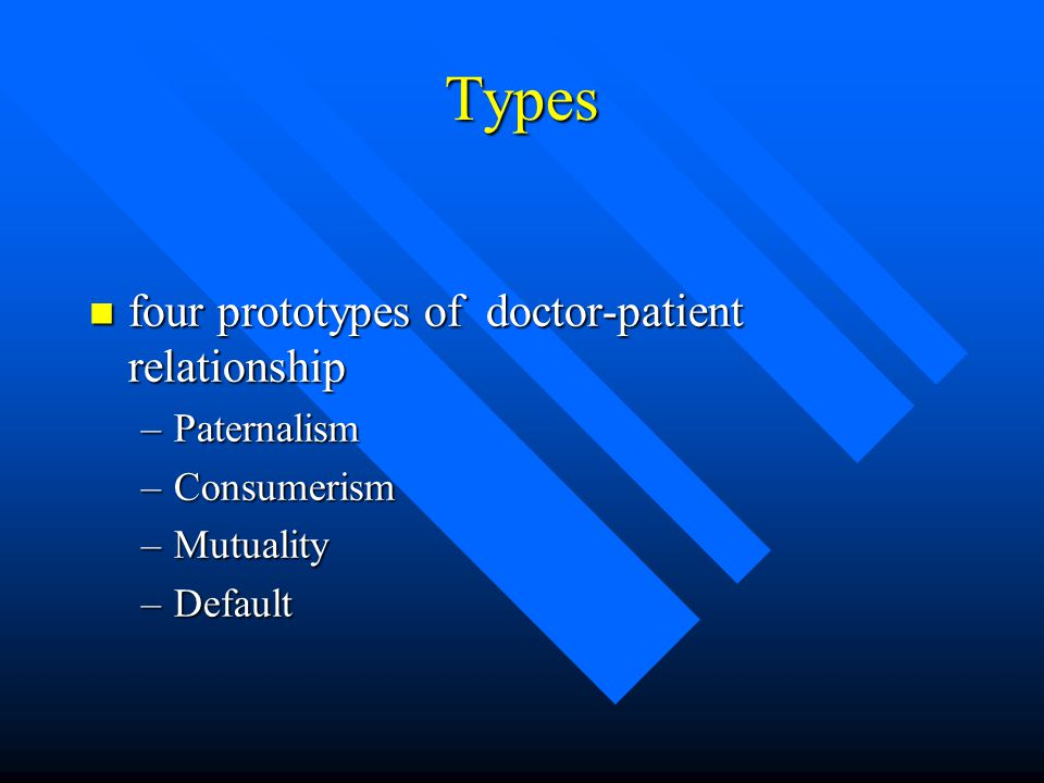Types four prototypes of doctor-patient relationship Paternalism