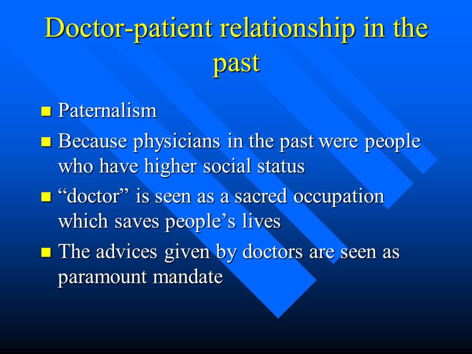 Doctor-patient relationship in the past