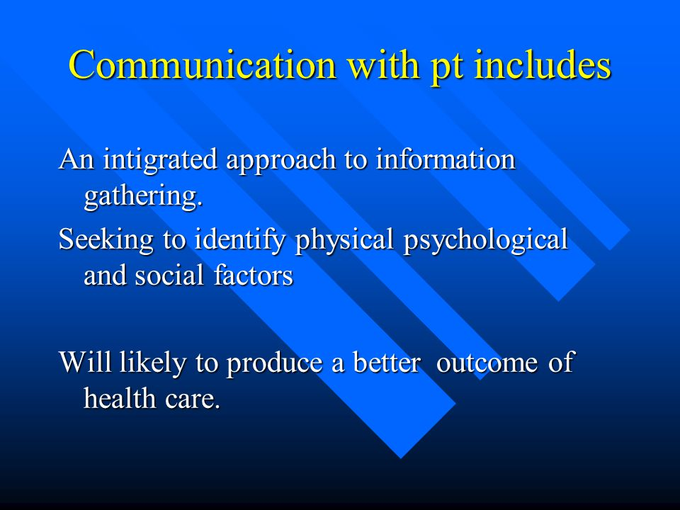 Communication with pt includes