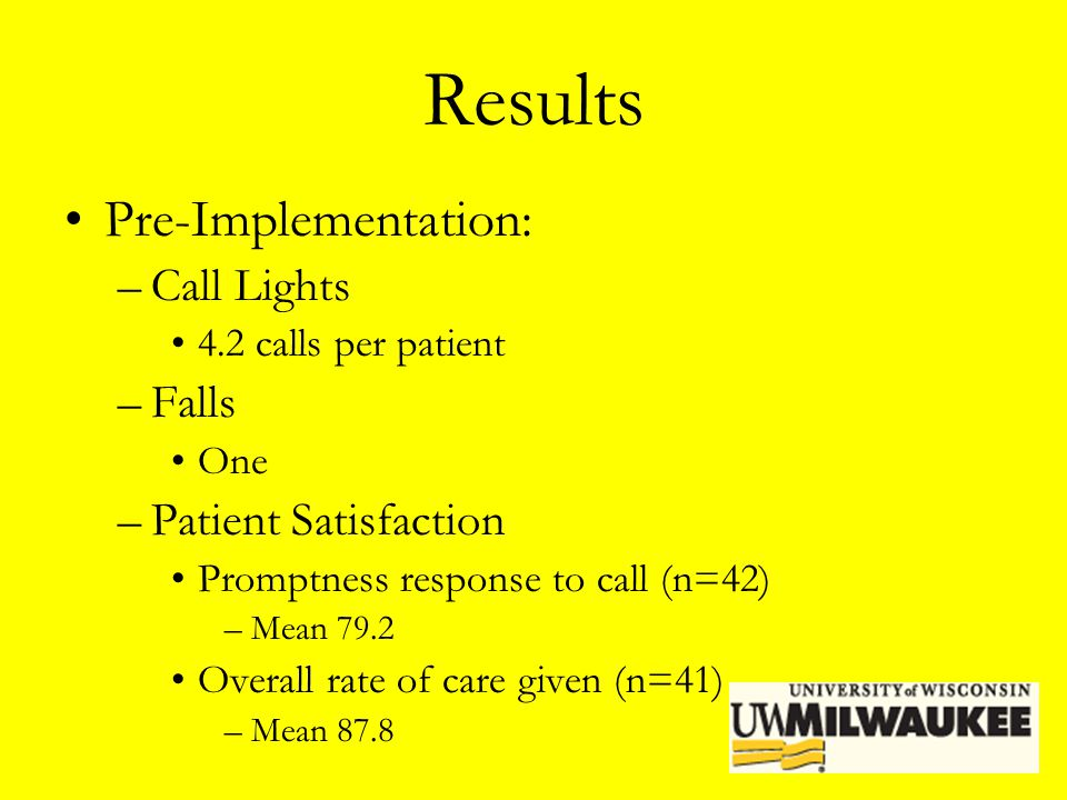 Results Pre-Implementation: Call Lights Falls Patient Satisfaction