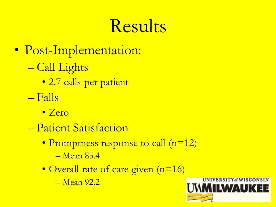 Results Post-Implementation: Call Lights Falls Patient Satisfaction