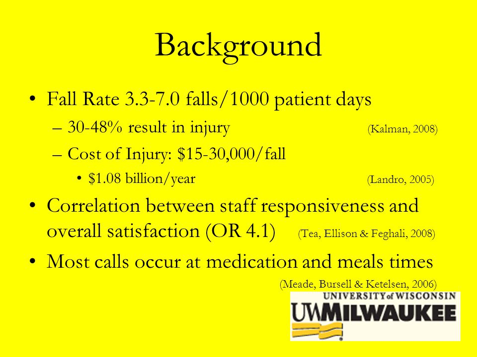 Background Fall Rate 3.3-7.0 falls/1000 patient days