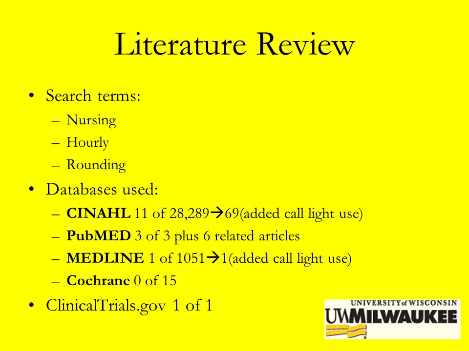 Literature Review Search terms: Databases used: