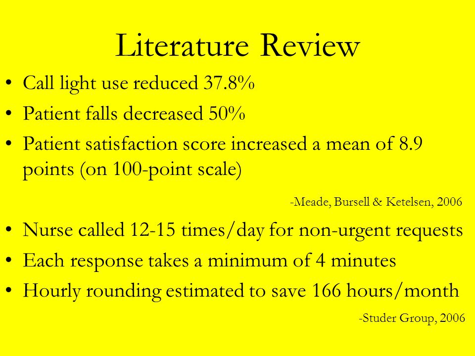 Literature Review Call light use reduced 37.8%