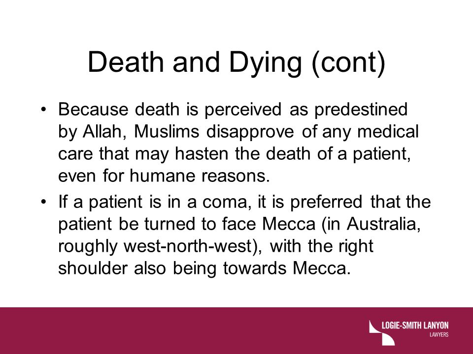Death and Dying (cont)