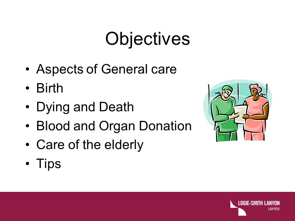 Objectives Aspects of General care Birth Dying and Death
