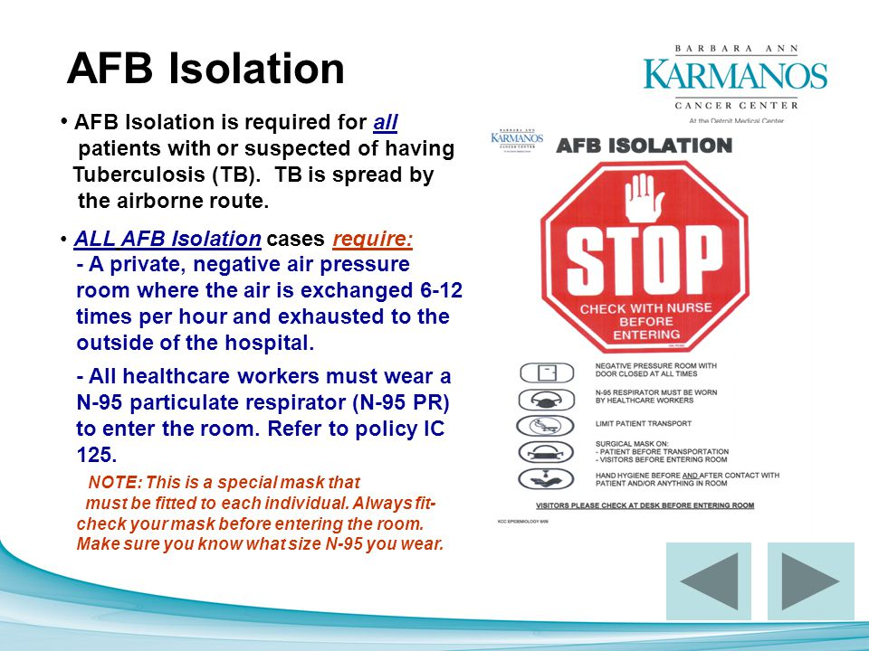 AFB Isolation AFB Isolation is required for all