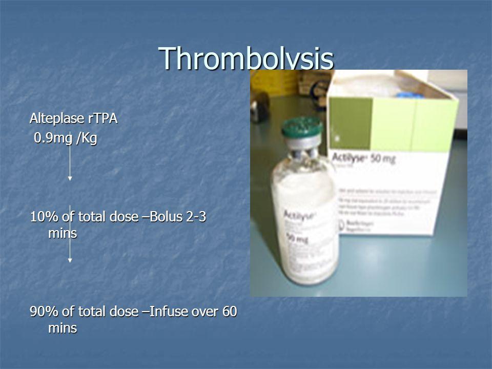Thrombolysis Alteplase rTPA 0.9mg /Kg