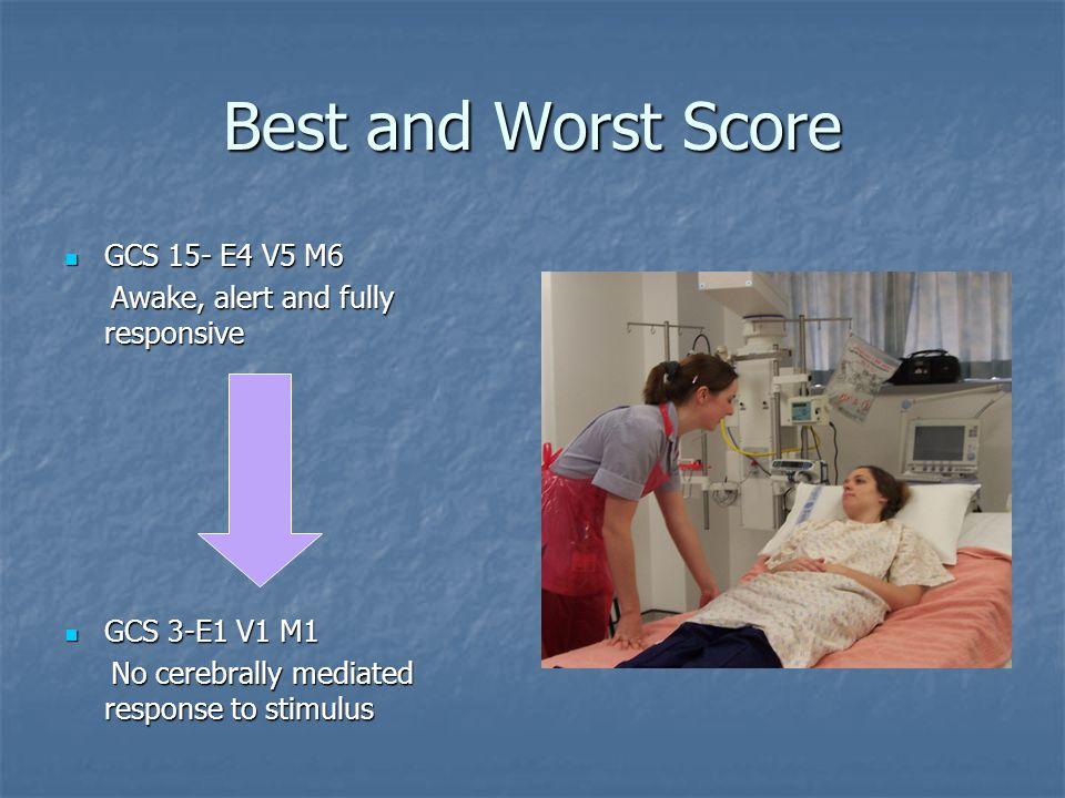 Best and Worst Score GCS 15- E4 V5 M6