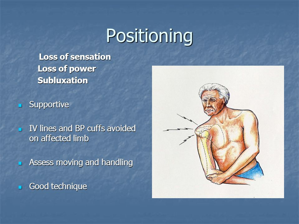 Positioning Loss of sensation Loss of power Subluxation Supportive