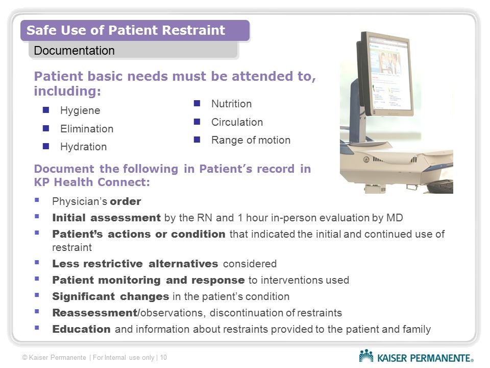 Patient basic needs must be attended to, including: